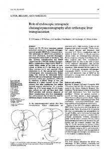 cholangiopancreatography after orthotopic liver
