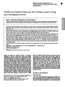 Choline and betaine intake and risk of breast cancer ... - BioMedSearch
