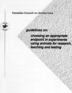 choosing an appropriate endpoint in experiments using animals for ...