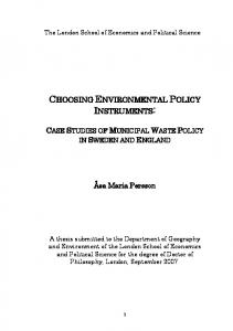 choosing environmental policy instruments - LSE Theses Online