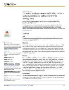 Choroidal thickness in normal Indian subjects using Swept ... - PLOS
