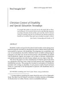 Christian Context of Disability and Special Education