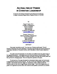 Christian Leadership and Power - Christian Business Faculty ...