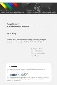 Christianity - Journal of French and Francophone Philosophy