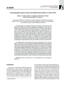 Chromatographic Analyses of Fatty Acid Methyl Esters by HPLC-UV