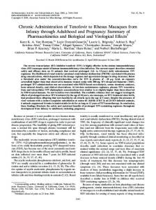 Chronic Administration of Tenofovir to Rhesus Macaques from Infancy