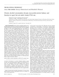 Chronic alcohol consumption disrupts myocardial protein balance and ...