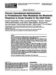 Chronic Cannabinoid Administration to Periadolescent ... - Springer Link