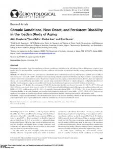 Chronic Conditions, New Onset, and Persistent