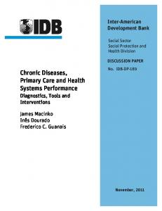 Chronic Diseases, Primary Care and Health ... - IDB - Publications