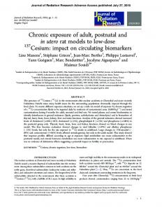 Chronic exposure of adult, postnatal and in utero rat models to low ...