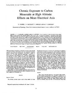 Chronic Exposure to Carbon Monoxide at High Altitude: Effects on ...
