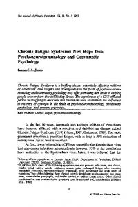 Chronic Fatigue Syndrome: New hope from ... - Springer Link