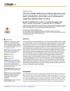 Chronic folate deficiency induces glucose and lipid metabolism