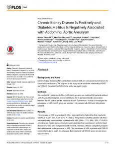 Chronic Kidney Disease Is Positively and Diabetes