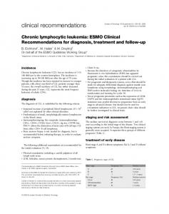 Chronic lymphocytic leukemia: ESMO Clinical Recommendations for ...