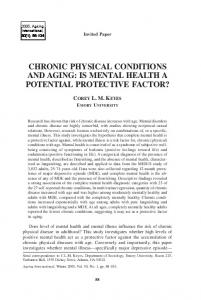 chronic physical conditions and aging: is mental health a ... - CiteSeerX