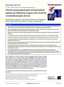 Chronic postsurgical pain and persistent opioid use ... - Future Medicine