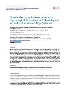 Chronic Stress and Its Association with Psychological, Behavioral and ...