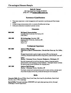 Chronological Resume Sample