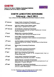 CHSTM LUNCHTIME SEMINARS February - April 2011