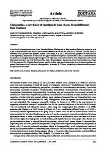 Chulacaridae, a new family of prostigmatic mites (Acari ... - Biotaxa