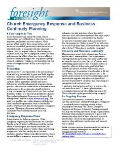 Church Emergency Response and Business Continuity Planning