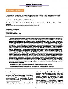 Cigarette smoke, airway epithelial cells and host ...