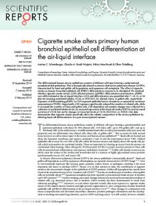 Cigarette smoke alters primary human bronchial epithelial cell ...