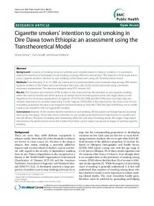 Cigarette smokers' intention to quit smoking in Dire ... - BioMedSearch