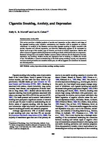 Cigarette Smoking, Anxiety, and Depression - Springer Link