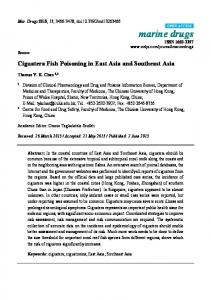 Ciguatera Fish Poisoning in East Asia and Southeast Asia - MDPI