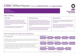 CIMA Milton Keynes To book call 0845 075 1100 or visit bpp.com/cima