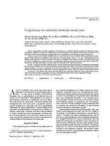 Cingulotomy for medically refractory cancer pain