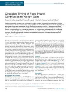 Circadian Timing of Food Intake Contributes to ... - Wiley Online Library