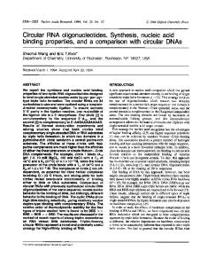 Circular RNA oligonucleotides. Synthesis, nucleic ... - BioMedSearch