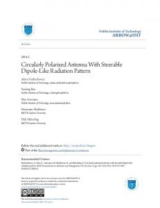 Circularly Polarized Antenna With Steerable Dipole-Like ... - Arrow@DIT
