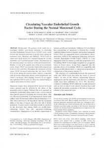 Circulating Vascular Endothelial Growth Factor During the Normal ...