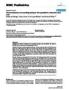 Circumstances surrounding dying in the paediatric intensive care unit