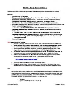 CIS300 - Study Guide for Test 1 - Reach - University of Louisville