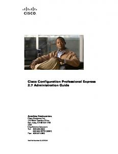 Cisco Configuration Professional Express 2.7 Administration Guide