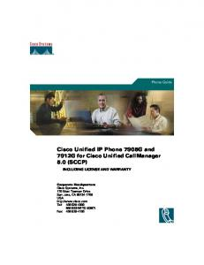 Cisco Unified IP Phone Guide 7905G/7912G for Cisco Unified ...