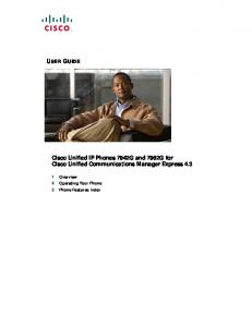 Cisco Unified IP Phones 7942G and 7962G for Cisco Unified ...