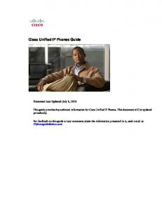 Cisco Unified IP Phones Guide