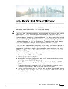 Cisco Unified SRST Manager Overview