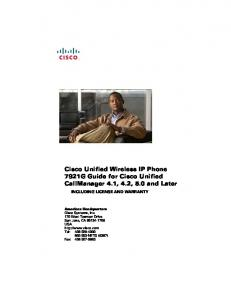 Cisco Unified Wireless IP Phone 7921G Guide for Cisco Unified ...