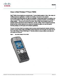 Cisco Unified Wireless IP Phone 7921G Phone Guide and Quick
