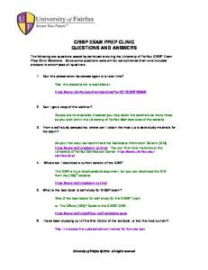 CISSP EXAM PREP CLINIC QUESTIONS AND ANSWERS