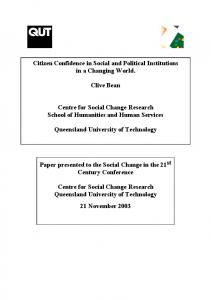 Citizen Confidence in Social and Political Institutions - CiteSeerX