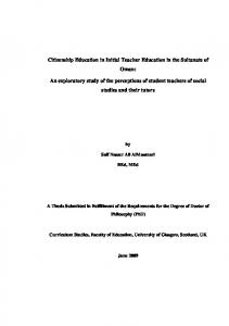 Citizenship Education in Initial Teacher Education in ...
